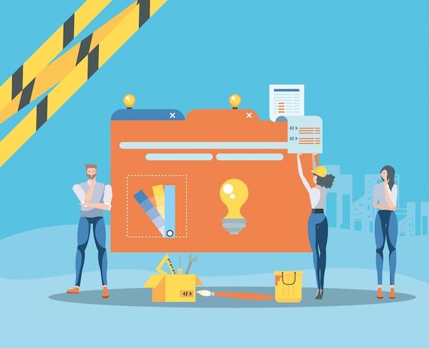 Buiders y carpeta de datos con página web en construcción Vector Premium