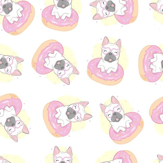 Bulldog francés perro de patrones sin fisuras Vector Premium