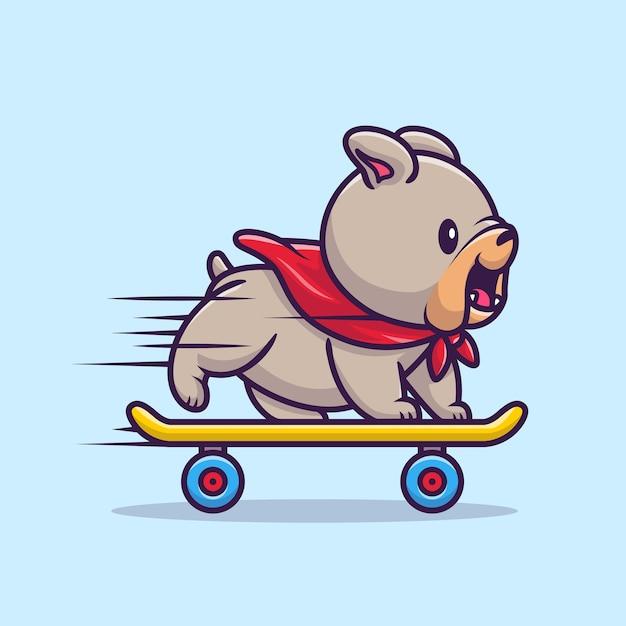 Bulldog lindo que juega la ilustración del vector de la historieta del monopatín. vector aislado del concepto del deporte animal. estilo de dibujos animados plana vector gratuito