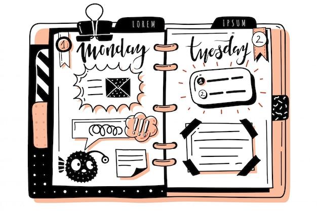 Bullet journal doodle banners planner. bloc de notas dibujado a mano patrón de propagación. marcos, cuadros de diálogo. días de la semana, lunes, martes Vector Premium