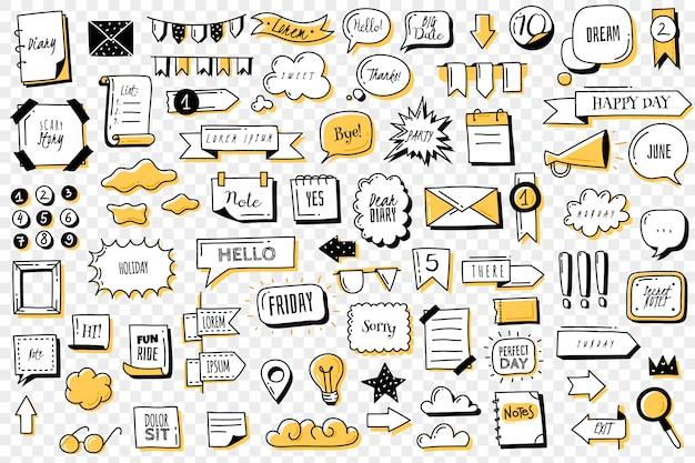 Bullet journal doodle conjunto de banners. dibujado a mano garabatos bullet journal banners y elementos para cuaderno, diario y agenda. marcos, bordes, viñetas, divisores de contorno Vector Premium