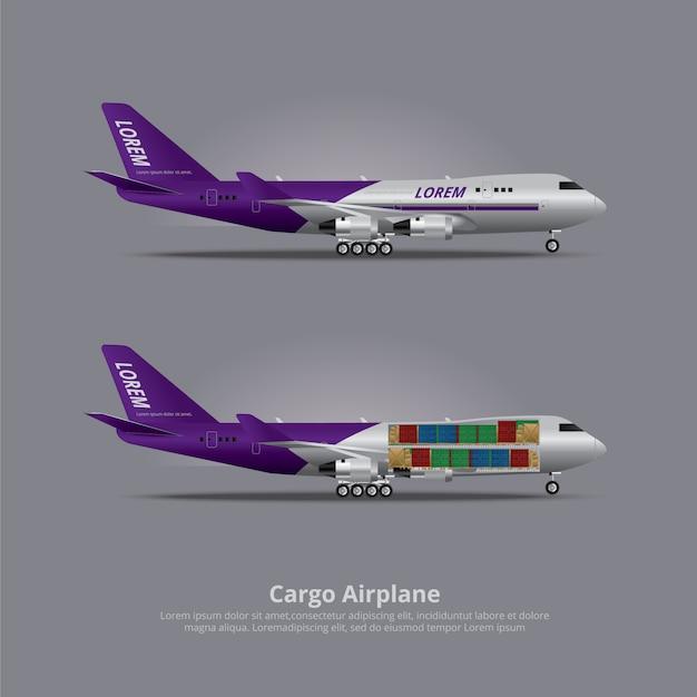 Buque de carga avión aislado ilustración vectorial Vector Premium