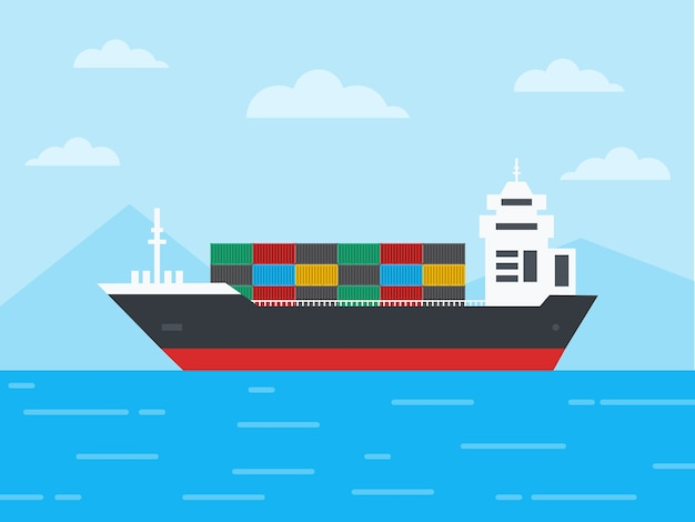 Buque de carga de contenedores en el océano y navegar a través de los icebergs, concepto de logística y transporte, ilustración. Vector Premium