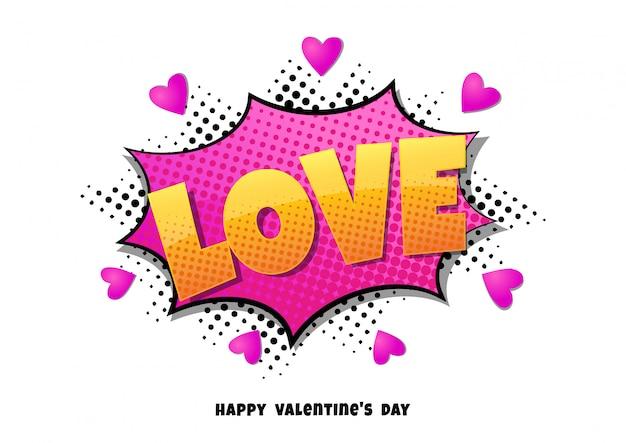 Burbuja cómica en forma de corazón amor pop art estilo retro Vector Premium