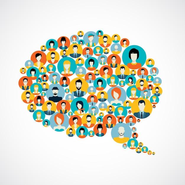 Burbuja de conversación con contactos de las redes sociales Vector Premium