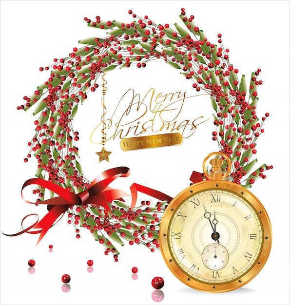 Burbuja roja de navidad con corona y reloj dorado antiguo. Vector Premium