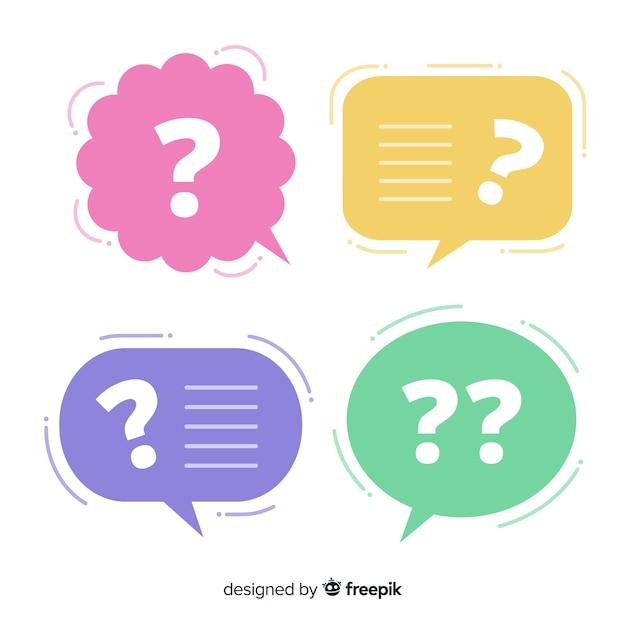 Burbuja de texto flat con signo de interrogación vector gratuito