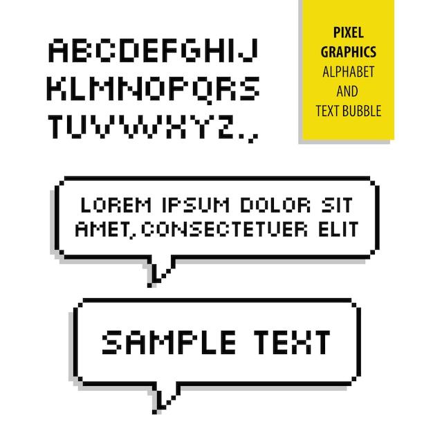 Burbuja de texto de píxeles y alfabeto de píxeles. gráficos Vector Premium
