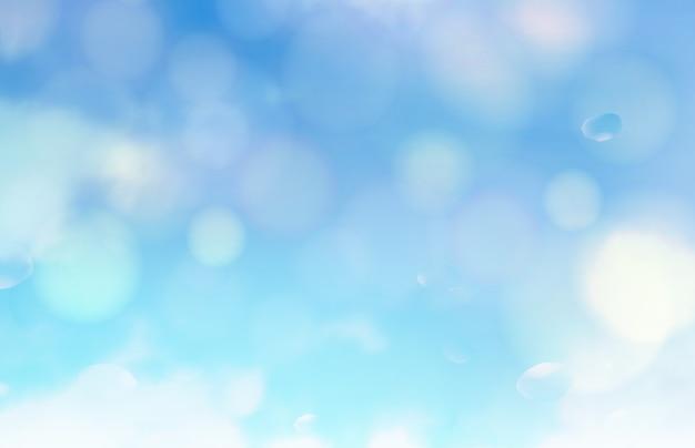 Las burbujas de bokeh y el sol parpadean sobre fondo azul. vector gratuito
