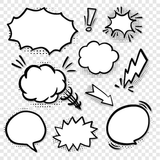 Burbujas de discurso en blanco cómico en línea negra Vector Premium