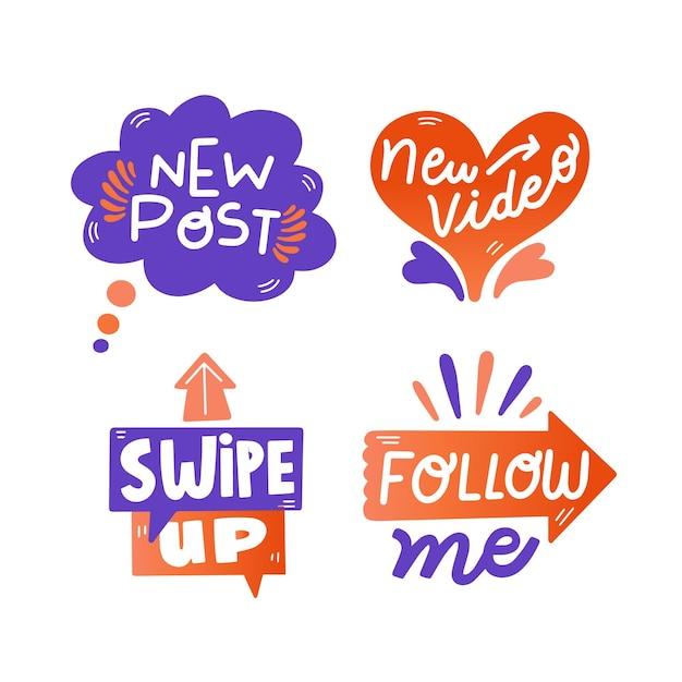Burbujas divertidas de chat de jerga en redes sociales vector gratuito