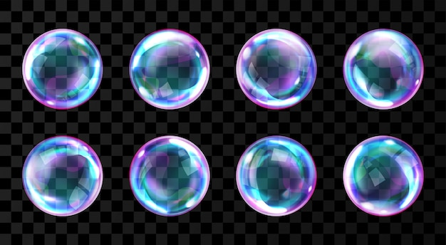 Burbujas de jabón con reflejos vector gratuito