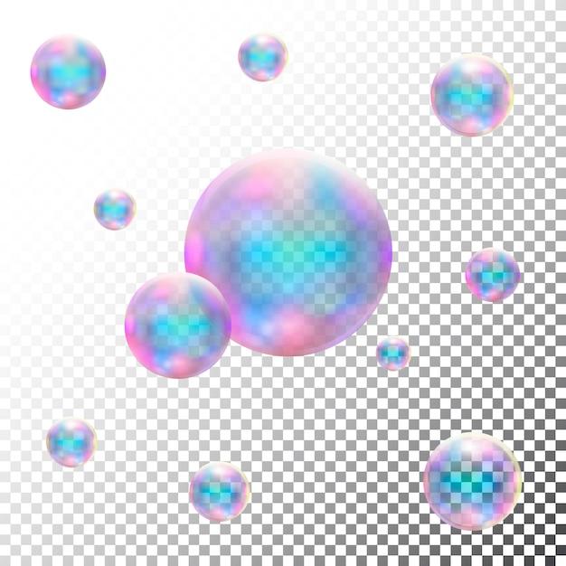Burbujas de jabón transparentes realistas. vector aislado Vector Premium