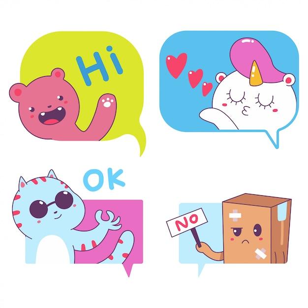 Burbujas de mensajes lindos con divertidos personajes vector pegatinas conjunto aislado. Vector Premium