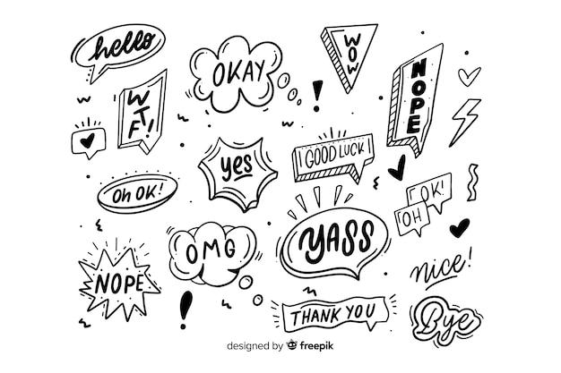 Burbujas monocromas con expresiones vector gratuito