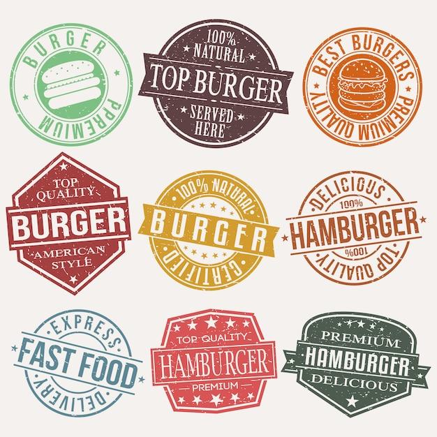Burger comida rápida restaurante sello Vector Premium