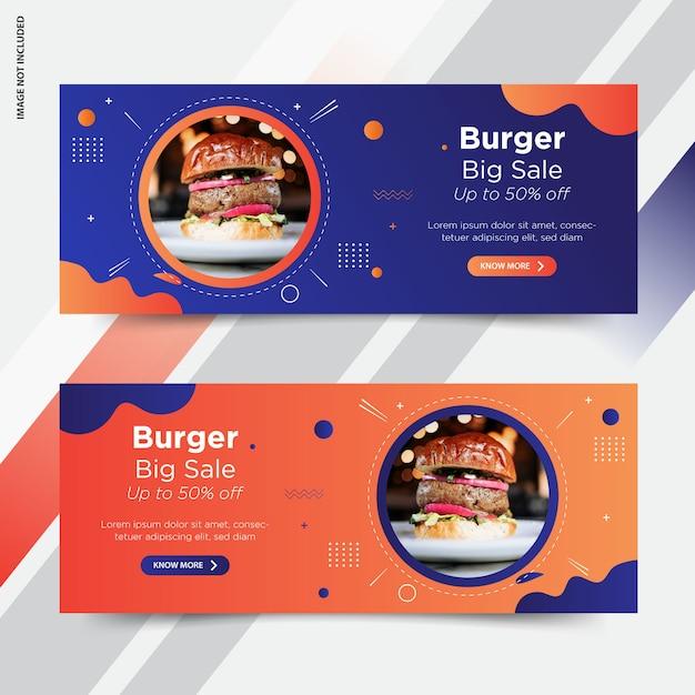 Burger facebook cover banner de publicación de redes sociales Vector Premium
