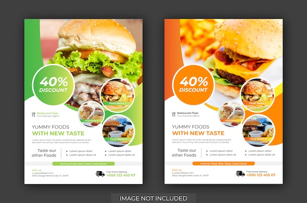 Burger shop flyer & poster template vector. plantilla de volante de restaurante Vector Premium