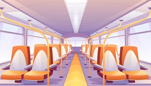 Bus vacío con asientos naranjas vector gratuito