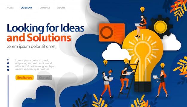 Buscando ideas y soluciones a problemas, intercambiando ideas para ideas. Vector Premium