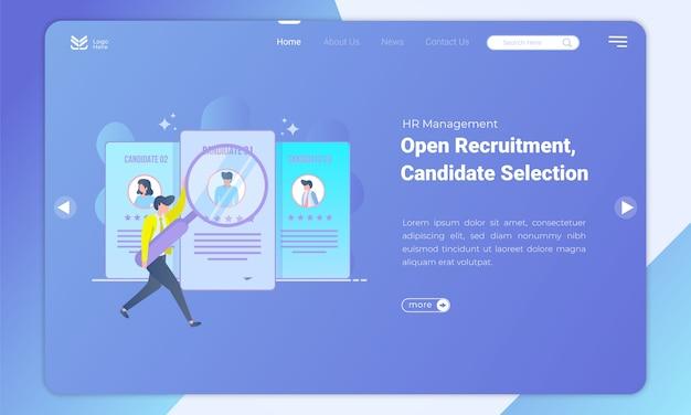 Buscando los mejores candidatos la plantilla de página de destino Vector Premium
