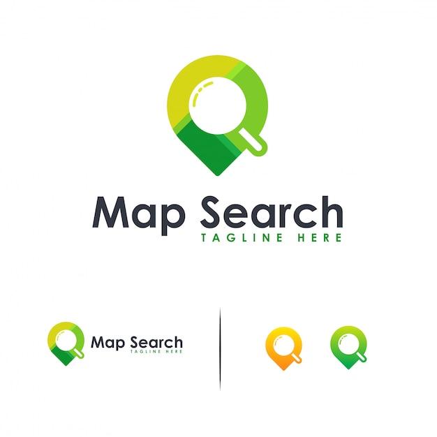 Buscar ubicación logo, mapa buscar logo plano Vector Premium