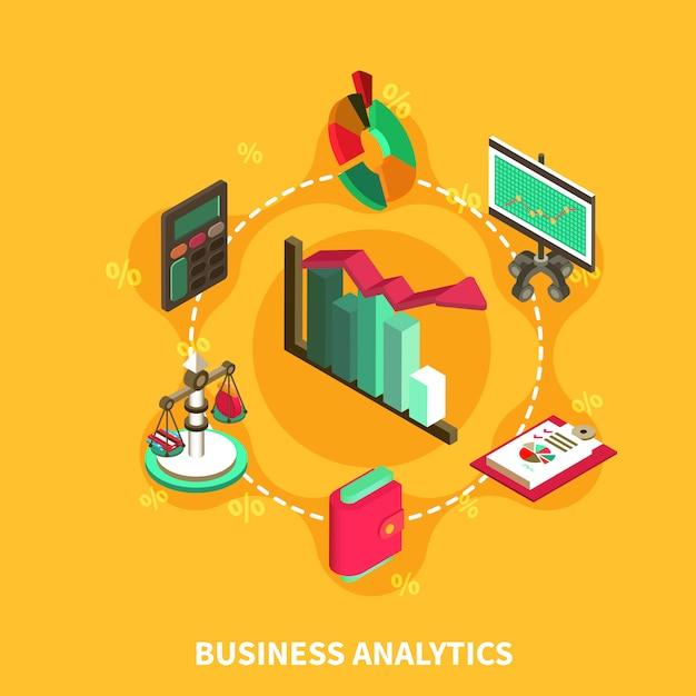 Business analytics composición isométrica redonda vector gratuito