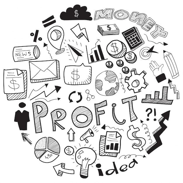 Business Doodle Con Signo De Negocios En Blanco Y Negro Símbolos E