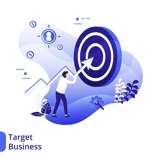 Business target flat illustration, el concepto de un hombre que lleva una flecha gráfica hacia el tablero de destino Vector Premium