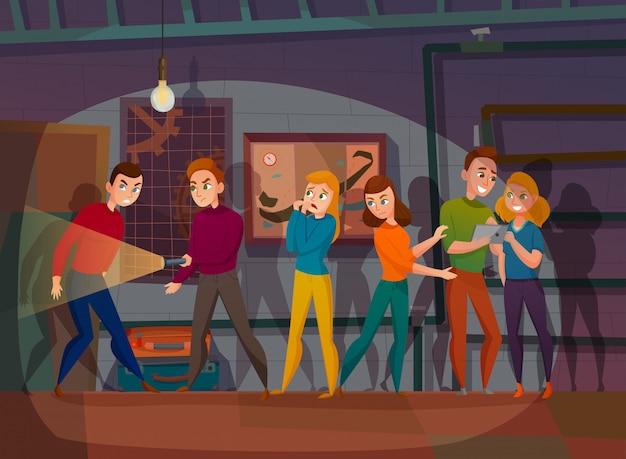 Búsqueda en la ilustración de dibujos animados de realidad vector gratuito