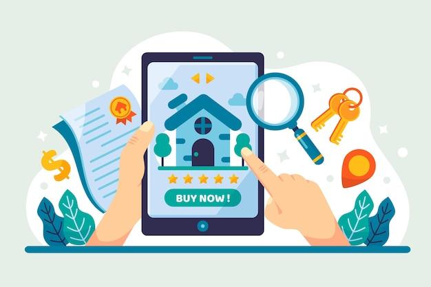 Búsqueda inmobiliaria de diseño plano con tableta vector gratuito