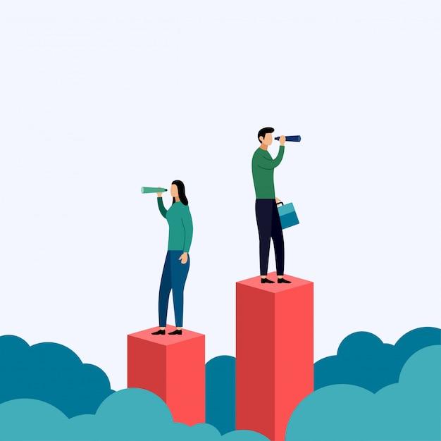 Búsqueda de oportunidades, nuevos comienzos, visión exitosa, ilustración comercial Vector Premium