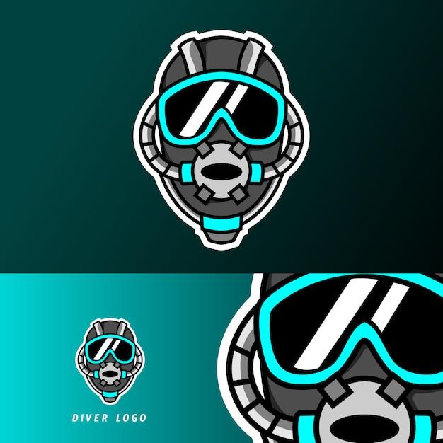 Buzo casco de buceo mascota deporte juego esport logo plantilla Vector Premium