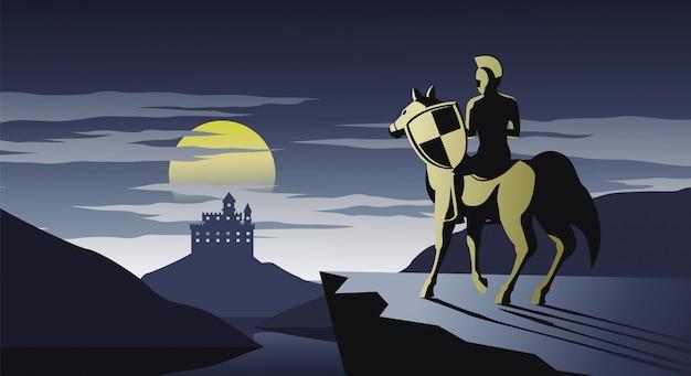 Caballero a caballo parado en el acantilado mira al castillo Vector Premium