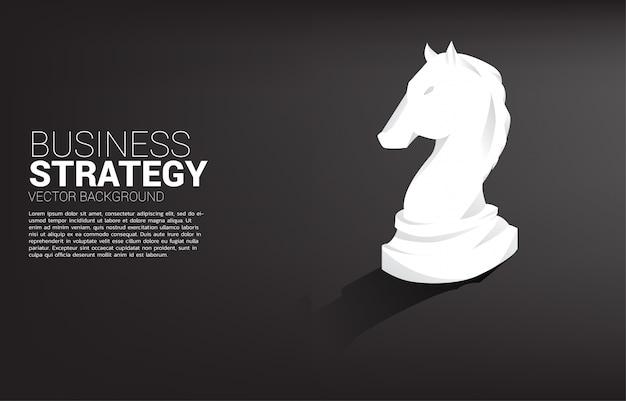 Caballero pieza de ajedrez silueta 3d. Vector Premium