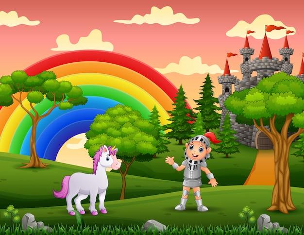 Un caballero con unicornio en el patio del castillo Vector Premium