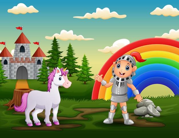 Un caballero con unicornio en el patio del castillo. Vector Premium