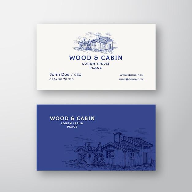 Cabaña en el bosque resumen vintage logo vector gratuito