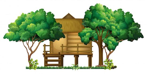 Cabaña de madera en el bosque vector gratuito