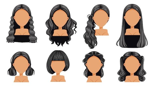 Cabello negro hermoso peinado cabello negro conjunto mujer. moda moderna para el surtido. cabello largo, pelo corto, flecos, peinados de peluquería rizada y moderno vector de corte de cabello Vector Premium