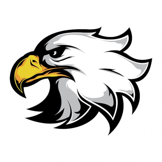 Cabeza de águila lado mira vector Vector Premium