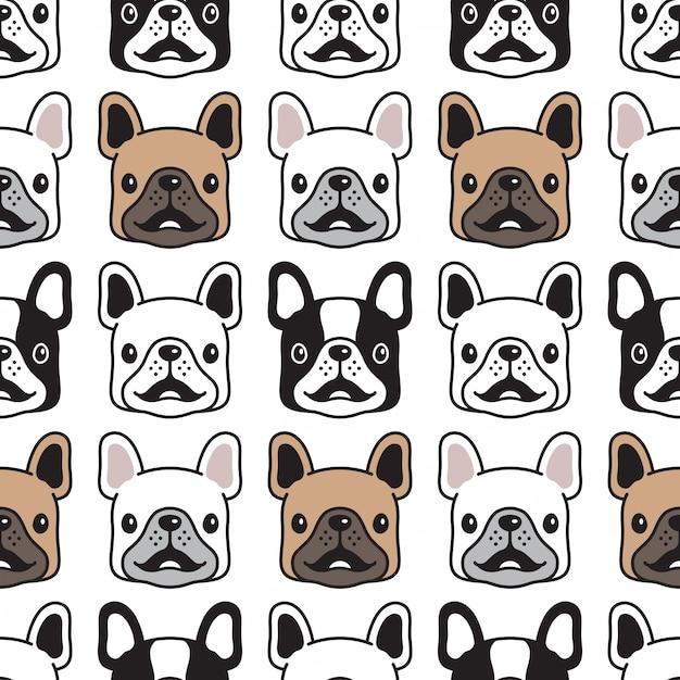 Cabeza de cara de perro bulldog francés de patrones sin fisuras Vector Premium