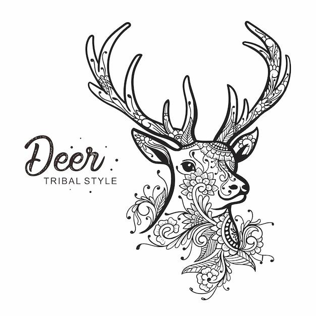 Cabeza de ciervo estilo tribal dibujado a mano Vector Premium
