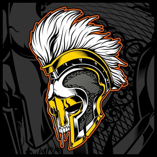 Cabeza cráneo ingenio casco gladiador Vector Premium