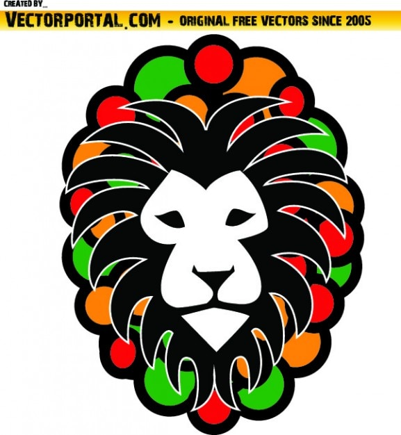 Lion Head Rasta Colors