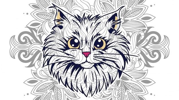 Cabeza De Gato Gracioso De Dibujos Animados Con Fondo Floral En