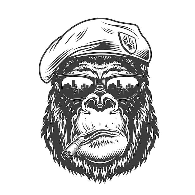 Cabeza de gorila en estilo monocromo vector gratuito