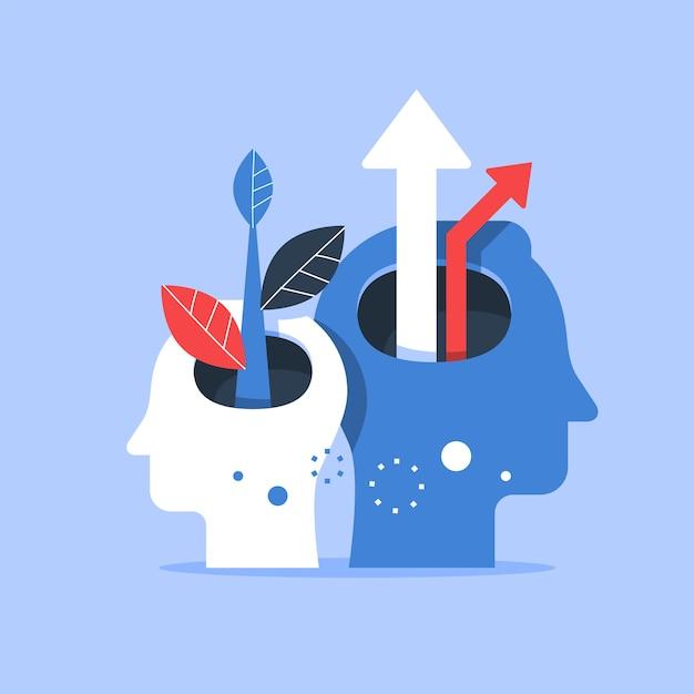 Cabeza humana y flecha hacia arriba, mejora del siguiente nivel, capacitación y tutoría, búsqueda de la felicidad, autoestima y confianza, ilustración. Vector Premium