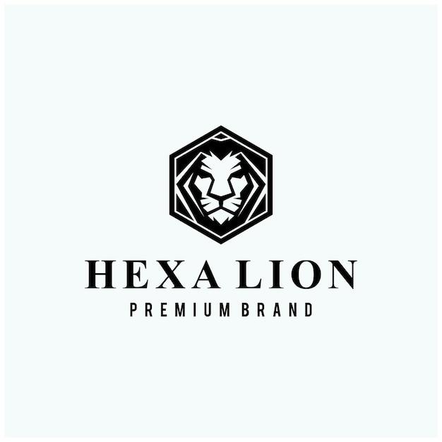 Cabeza de león en diseño de logotipo de signo hexagonal Vector Premium
