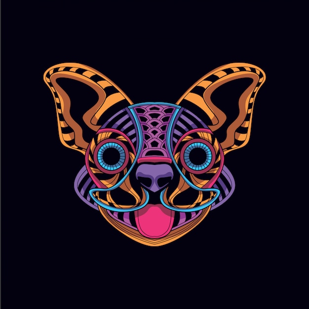 Cabeza de perro decorativa de color neón. Vector Premium